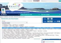 Menu dédié à la recherche de fiches horaires sur le nouveau site internet du réseau KSMA.