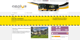 Capture d'écran du site internet du réseau de transport en commun blésois Azalys, basé sur un template similaire à celui employé pour le site du réseau KSMA.
