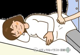 妊婦さんの腰痛や頭痛にはソフトな手技で施術します