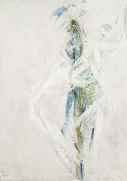 "Mario Raciti ""Una o due figure"", 2016, tecnica mista su tela, 100 x 70 cm"