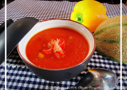 Gaspacho de melon et tomates aux écrevisses