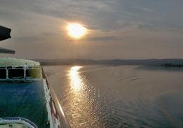 14. August 2015 - Die Sonne über der Donau