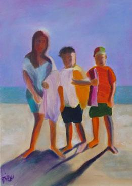Drei zum Strand