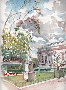 """""""Orangerie du Luxembourg"""", aquarelle, René Urien"""