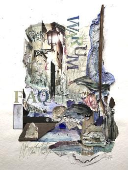 Collage in Aquarell-Mischtechnik
