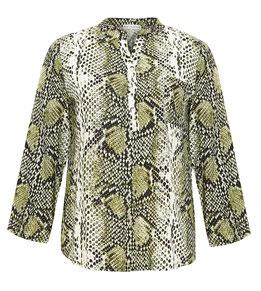 Bluse mit Leoprint grün gemustert in Übergrößen