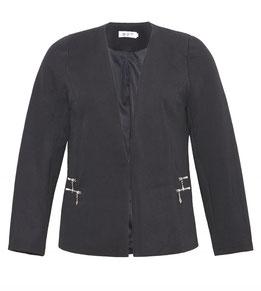 Blazer-Jacke in Waffelpiqué, schwarz Gr 52