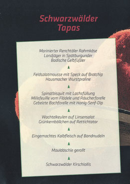 Speisekarte Schwarzwälder Tapas Abend