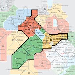 Unbeschränkte Nutzung des ÖV war in folgenden Zonen möglich.