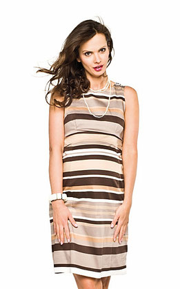 maternity dress white brown strips