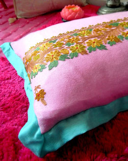 Musk-pink, pashmina-shawl cushion cover with delicately-hued embroidery & aqua, super-soft, pashmina edging