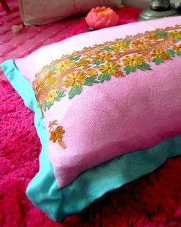 Musk-pink, pashmina-shawl cushion cover with delicately-hued embroidery & aqua, super-soft, pashmina edging
