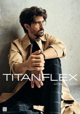 Brille für Herren, Metallbrille in Pantoform, leichtes Titanflex Material
