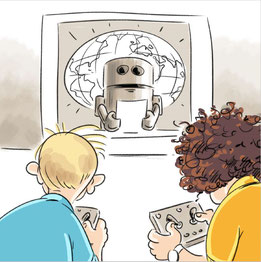 Sturmer und Holzinger steuern Roboter (Cartoon)