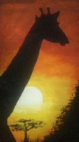 SUNSET GIRAFFE 64 x 114 cm, Acryl & Sand gespachtelt, CHF 300.--