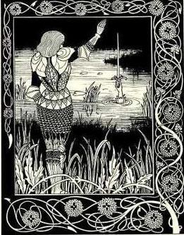 Bédivère restituant Excalibur à la Dame du Lac.
