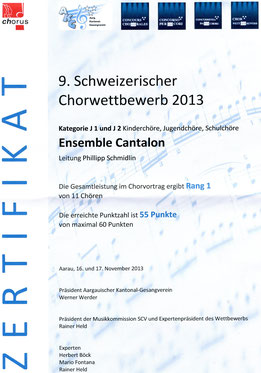 1. Rang Schweizerischer Chorwettbewerb