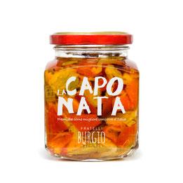 Caponata artesanal siciliana con verduras cortadas a mano. Sin conservantes en bote de 200gr (Burgio-Sicilia) 9,00€