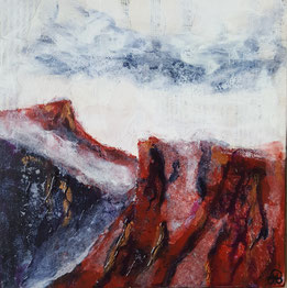 """Red Mountain Ridge"" 25.5 x 25.5cm mixed media on handmade cradled board.RMR01mm"