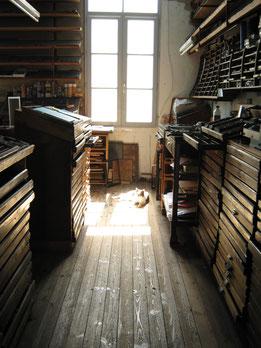 Les petites allées, La typographie, letterpress, casses