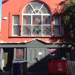 trash, grafitti, stained glass