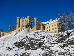 Les paysages d'hiver en Bavière - Hohenschwangau sous la neige.