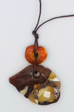 Amber pendant mosaic placer Kaliningrad best rare