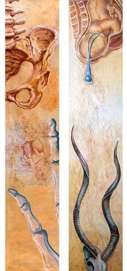 Intervenciones I y II (díptico) 2014, pastel sobre papel 180X38 cm