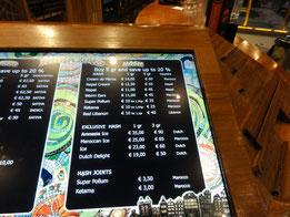 coffee shops amsterdam prixs carte menu