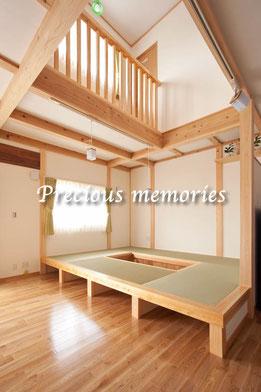 岐阜県可児市の建築工事写真です。木造住宅の小上がり和室の内観写真です。