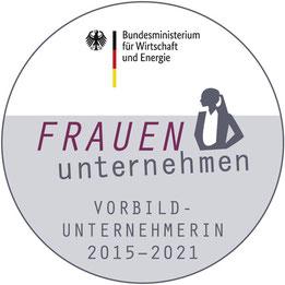 Logo der Initiative vom Bundeswirtschaftsministerium FRAUEN unternehmen, Vorbildunternehmerin