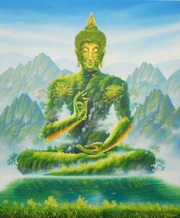 Buddha Kunst Bild - Gemälde mit Buddha