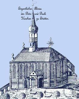 Stettin, St. Peter: Riss aus dem 18. Jahrhundert