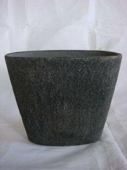 Macetero de cerámica ovalado de color marrón