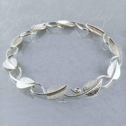 Linking Leaves Handmade Sterling Silver Bracelet