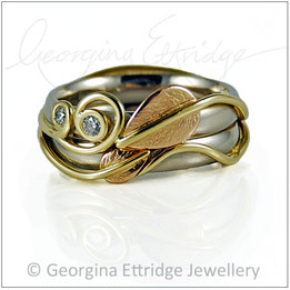 Leaf & Two Tendril Rings Nature Inspired - Bespoke Custom Commissions Made to Order