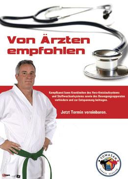 Empfehlung von Aerzten ist unser Training in der TOWASAN Karate und Kickbox Schule in Muenchen