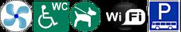 WC für  Rollstuhlfahrer, Hunde erlaubt, WiFi free und Busparkplatz