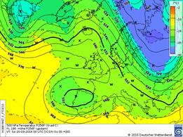 Höhenwetterkarte einer antizykl. Nordwestlage. | Bildquelle: Deutscher Wetterdienst