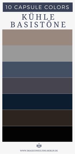 kühle Grundfarben - Optimal für Schuhe, Blazer, Stoffhosen, Anzüge, Kostüme, Etuikleider, Mäntel, Jacken, Taschen, Gürtel