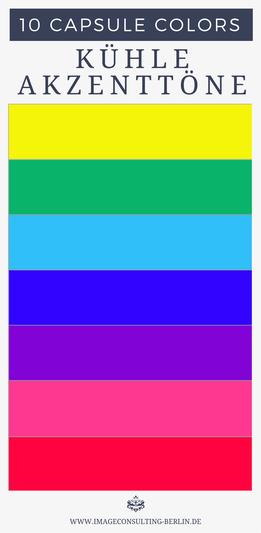 kalte Akzentfarben werden am besten im Schmuck, als Teil des Musters, Aufdruck, in Applikationen oder als Tasche eingesetzt.