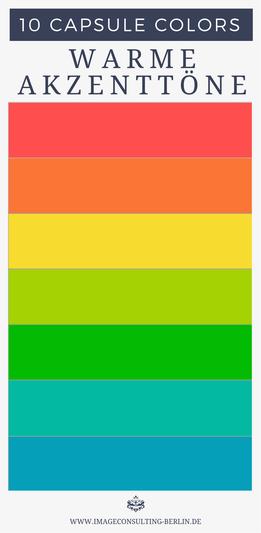 warme Akzentfarben werden am besten im Schmuck, als Teil des Musters, Aufdruck, in Applikationen oder als Tasche eingesetzt.