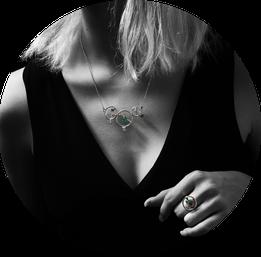 Bijoux prestige Collier et bague Effervescence aquatique argent émeraudes