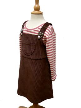 braunes Latzkleid für Mädchen, HERZKIND, faire Mode für Kinder