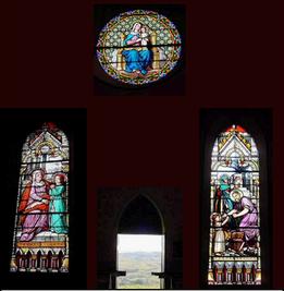 Trois vitraux de l'église de Ripan