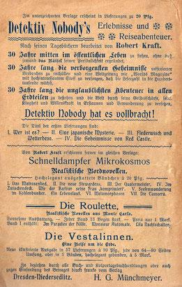Rückseite des Hefts mit Verlagswerbung