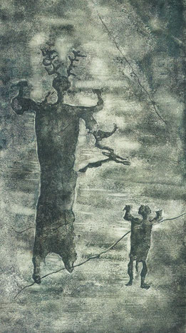 Gehörnter Mann mit langem Gewand, Naquane, Val Camonica, Italien. (Maria Weyersberg 1935) (