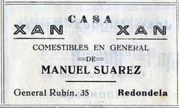 """Publicidade dos ultramariños """"Xan Xan"""". Ano 1954"""