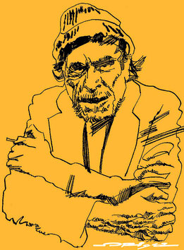 Charles Bukowski, portrait by italian artist Graziano Origa, pen&ink+pantone, 2008 [CC BY-SA 3.0 (http://creativecommons.org/licenses/by-sa/3.0)], via Wikimedia Commons