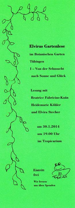 Flyer Lesung im Tropicarium